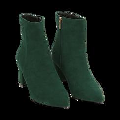 Ankle boots verdi microfibra, tacco 6 cm, Stivaletti, 144916811MFVERD035, 002 preview
