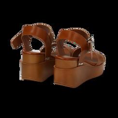 Sandali platform cuoio in eco-pelle, zeppa 7 cm, Primadonna, 132147321EPCUOI035, 004 preview