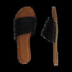 Mules flat nere in eco-pelle intrecciata, Primadonna, 133600110EINERO036, 003 preview