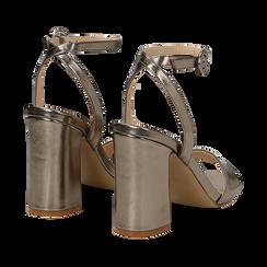 Sandali canna di fucile in eco-pelle, tacco trapezio 10,50 cm, Sandali con tacco, 132165612LMCANN035, 004 preview
