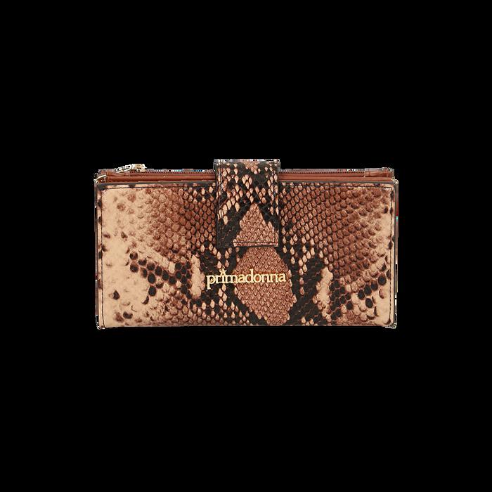 Portafogli marrone stampa pitone, Primadonna, 165122158PTMARRUNI