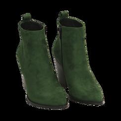Ankle boots verdi in microfibra, tacco 8,50 cm, Primadonna, 160585965MFVERD035, 002 preview