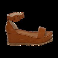 Sandali cuoio, zeppa 6,50 cm, Scarpe, 154926113EPCUOI, 001 preview