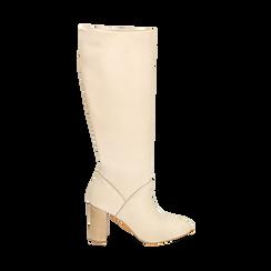 Stivali beige in pelle di vitello, tacco 9 cm, Scarpe, 158900890VIBEIG035, 001 preview