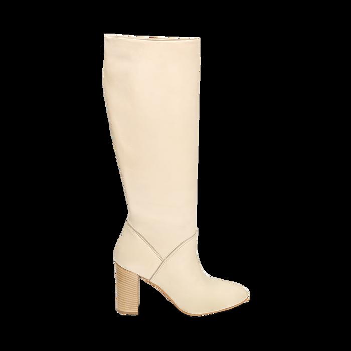 Bottes beige en cuir de veau, talon 9 cm, Chaussures, 158900890VIBEIG036
