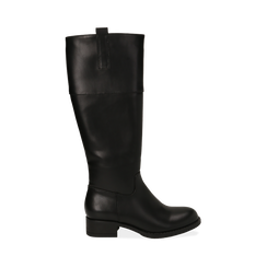 Stivali flat neri, tacco 4 cm , Primadonna, 160621686EPNERO035, 001a