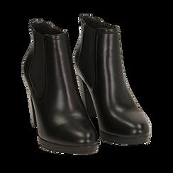 Ankle boots neri, tacco 9,50 cm , Primadonna, 160619074EPNERO036, 002a