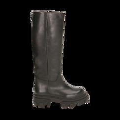 Stivali chunky neri in pelle di vitello, tacco 4 cm, Primadonna, 16A500050VINERO035, 001a