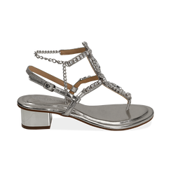 Sandali argento in eco-pelle laminata con pietre, tacco 3,5 cm, Primadonna, 154927101LMARGE036, 001 preview