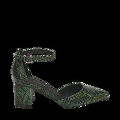Décolleté verdi in eco-pelle stampa pitone, tacco 6,50 cm , Primadonna, 142182391PTVERD035, 001a