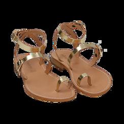 Sandali oro laminato, Scarpe, 158100570LMOROG036, 002 preview