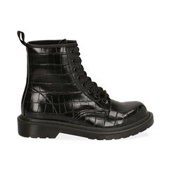 Botas militares en color negro con estampado de cocodrilo, Primadonna, 162801501CCNERO036, 001 preview