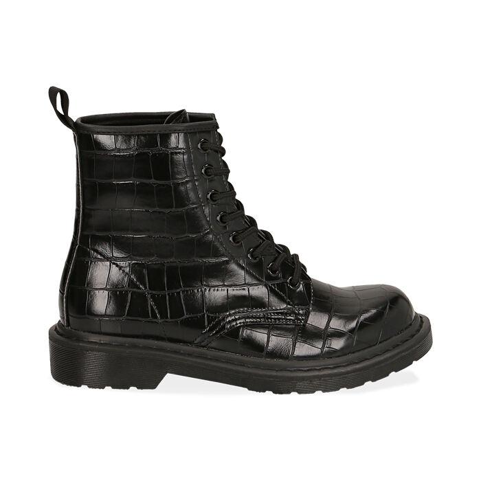 Botas militares en color negro con estampado de cocodrilo, Primadonna, 162801501CCNERO036