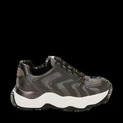 Dad shoes canna di fucile glitter, suola 5 cm , Scarpe, 142898804GLCANN035, 001a
