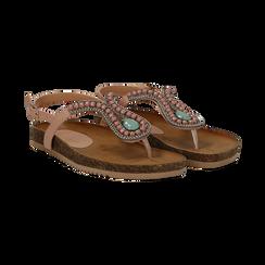 Sandali infradito nude in eco-pelle,