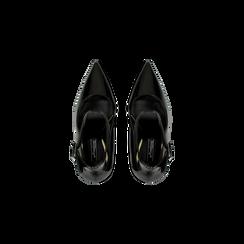Décolleté nere vernice con cinturino, tacco stiletto 11 cm, Scarpe, 122182062VENERO, 004 preview