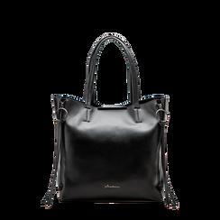 Borsa shopper nera in ecopelle con doppia zip anteriore, Saldi, 122300304EPNEROUNI, 001a