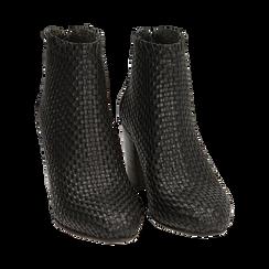 Bottines noires en cuir tressé, talon 7,50 cm, Chaussures, 15C515018PINERO036, 002 preview