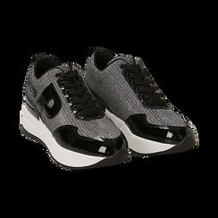 Sneakers canna di fucile glitter, suola 5,50 cm ,