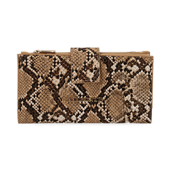 Monedero en eco-piel con estampado de serpiente color beige, Bolsos, 155122158PTBEIGUNI, 001 preview