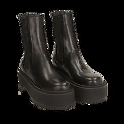 Chelsea boots neri in pelle di vitello, suola 6 cm , Primadonna, 168900202VINERO036, 002a