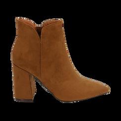 Ankle boots cuoio in microfibra, tacco 9 cm , Primadonna, 162709165MFCUOI035, 001 preview