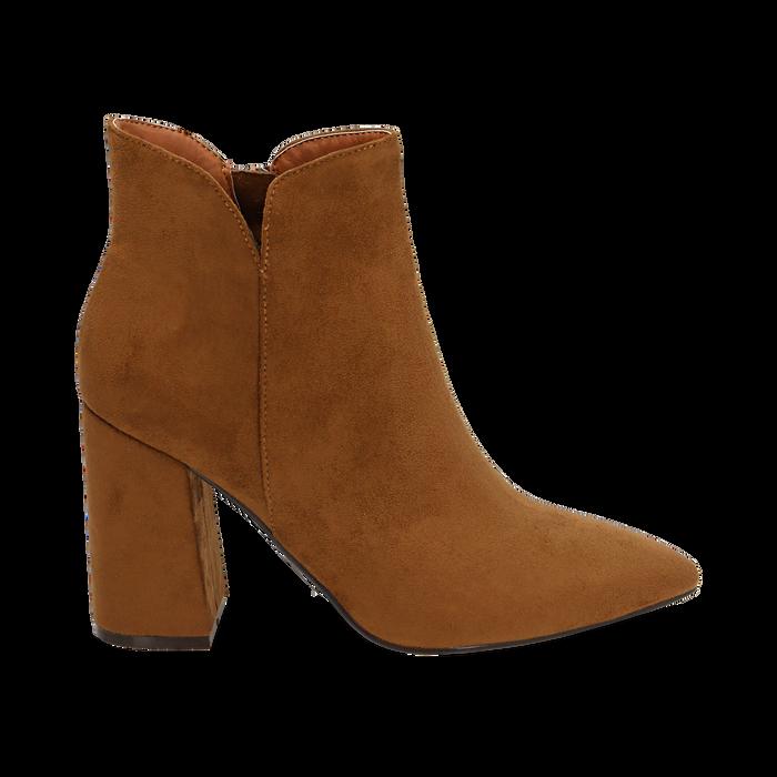 Ankle boots cuoio in microfibra, tacco 9 cm , Primadonna, 162709165MFCUOI036