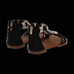 Sandali neri in raso con perle e placche oro, Primadonna, 133601505RSNERO036, 004 preview