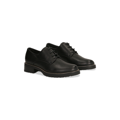 Francesine stringate nera con mini-borchie  , Scarpe, 120691312EPNERO040, 002