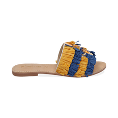 Ciabatte giallo/turchesi in rafia, Scarpe, 15K904447RFGITU, 001 preview