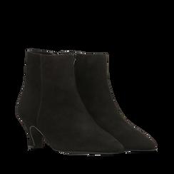 Tronchetti neri in vero camoscio, tacco a rocchetto basso 6 cm+, Primadonna, 127200154CMNERO037, 002a