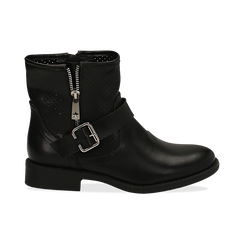 Bottines Biker noir en simili-cuir, Chaussures, 150619015EPNERO037, 001 preview