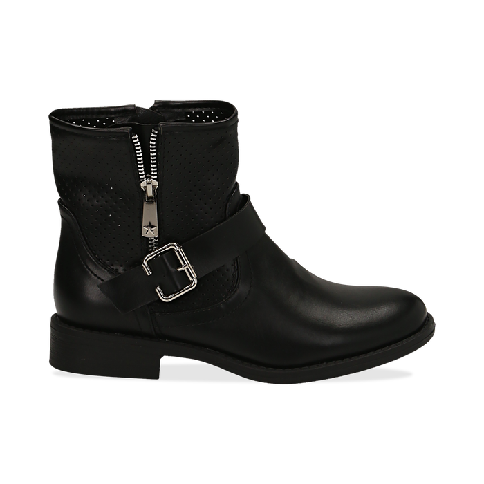 Bottines Biker noir en simili-cuir, Chaussures, 150619015EPNERO037