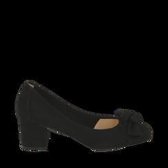 Escarpins noir en microfibre avec noeud, talon 5,50 cm , Chaussures, 152182281MFNERO037, 001a