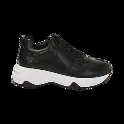Dad shoes nere in eco-pelle, zeppa 5 cm , Scarpe, 142008356EPNERO036, 001 preview