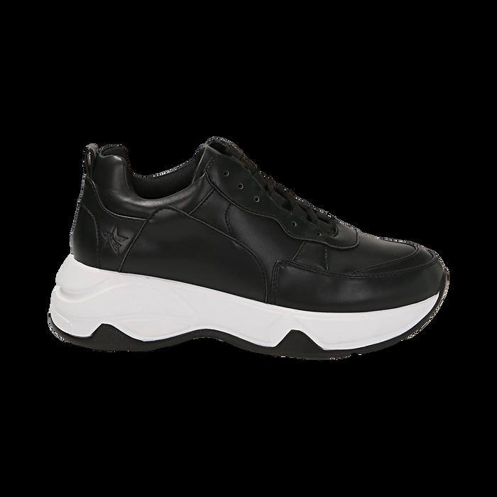 Dad shoes nere in eco-pelle, zeppa 5 cm , Scarpe, 142008356EPNERO035