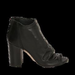 Botines open toe en vitello color negro, tacón 9 cm, Zapatos, 15A217014VINERO036, 001a
