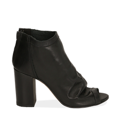 Botines open toe en vitello color negro, tacón 9 cm, 15A217014VINERO035, 001a