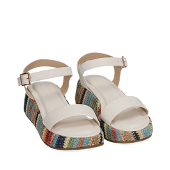 Sandali bianchi in eco-pelle, zeppa 4,50 cm , Chaussures, 154917199EPBIAN038, 002a