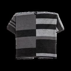 Poncho grigio effetto lamé, stampa a quadri multicolore, Abbigliamento, 12B409678TSNEGR, 006 preview