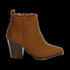 Ankle boots cuoio in microfibra, tacco 8,50 cm, Primadonna, 160585965MFCUOI035, 001 preview