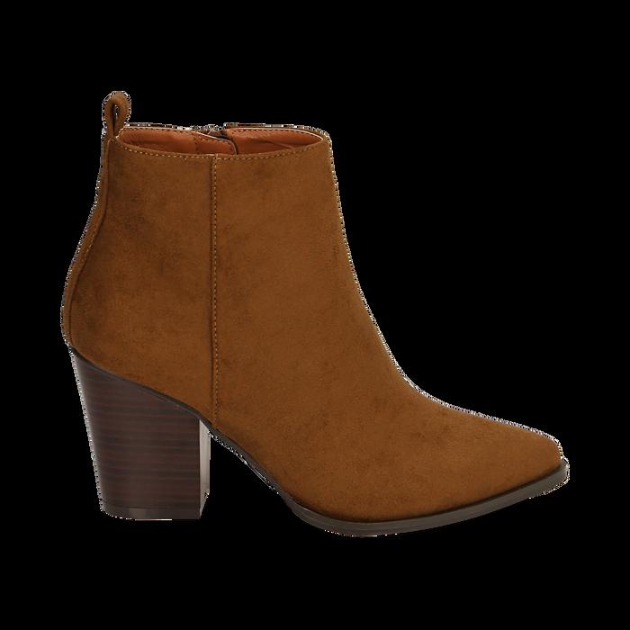 Ankle boots cuoio in microfibra, tacco 8,50 cm, Primadonna, 160585965MFCUOI035