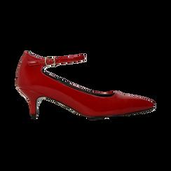 Décolleté rosse kitten heels in vernice, tacco 3 cm, Scarpe, 124951721VEROSS, 001 preview