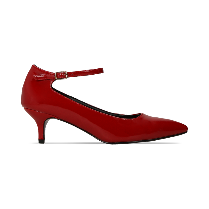 Décolleté rosse kitten heels in vernice, tacco 3 cm, Scarpe, 124951721VEROSS