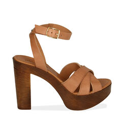 Sandales en cuir noir, talon de 11,5 cm, 174304931PEBEIG037, 001a