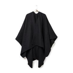 Poncho nero in tessuto , Abbigliamento, 14B400006TSNEROUNI, 003 preview