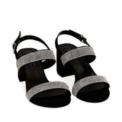 Sandales noires en microfibre avec strass, talon de 6,5 cm, Primadonna, 152909505MPNERO035, 002a