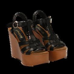 Sandali platform multilistino neri in eco-pelle, zeppa 12 cm , Primadonna, 132147348EPNERO035, 002a