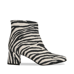 Tronchetti Zebra Print in microfibra, tacco 5,5 cm, 127101501MFZEBR036, 001a