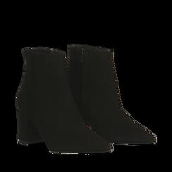 Tronchetti neri in vero camoscio, tacco 5 cm, Primadonna, 12D614011CMNERO036, 002a
